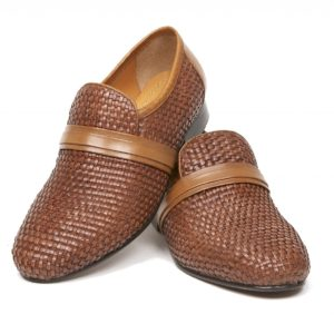 The Steve Ellis woven leather slip-on shoe