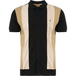 Gabicci Black Pulp Panel Polo Shirt