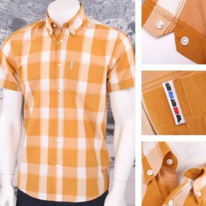 Get Up REGULAR FIT Button Down S/S Window Pane Check Shirt Orange