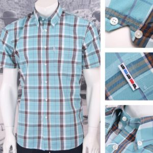 Get Up REGULAR FIT Button Down S/S Window Pane Check Shirt Teal